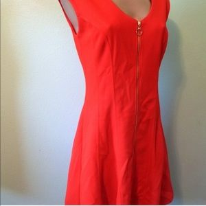 INC Red Holiday Dress Women's Size S Midi Zip Up